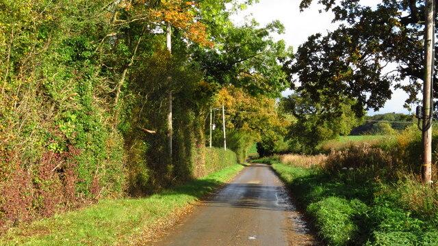 Heading northeast along Elsing Lane from Mowles Rd, North Tuddenham