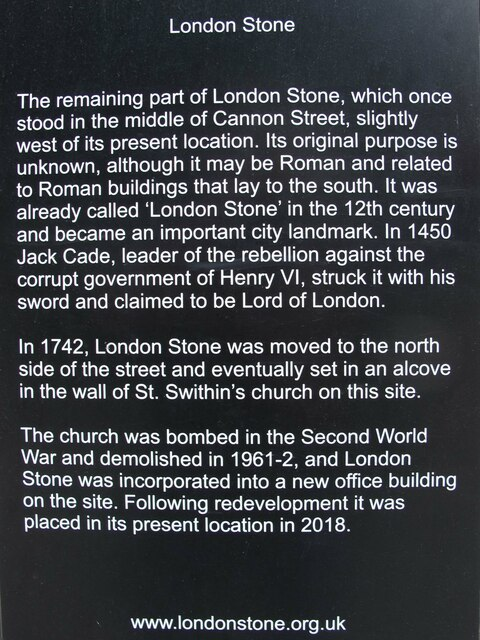 Plaque next to the London Stone