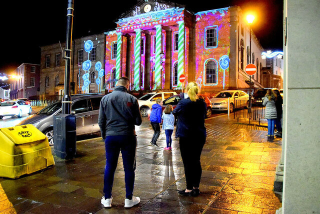 Projected display onto Omagh courthouse