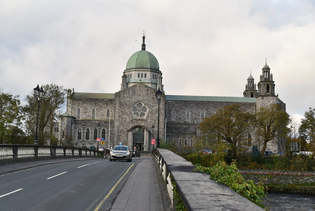 Galway Cathedral across Salmon Weir Bridge