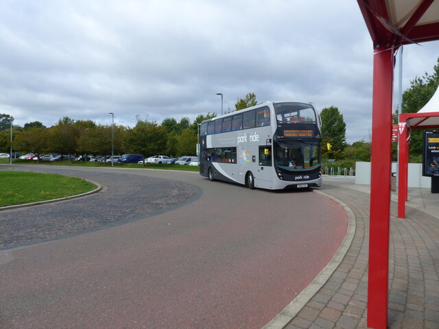 Bus approaching Madingley Road Park and Ride, Cambridge