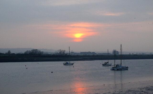 Winter sun over the River Crouch, North Fambridge