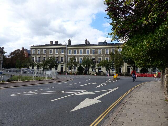 Royal Cambridge Hotel, and road junction, Cambridge