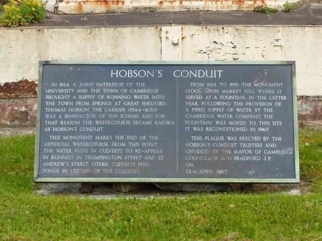 Plaque with information about Hobson's Conduit, Cambridge