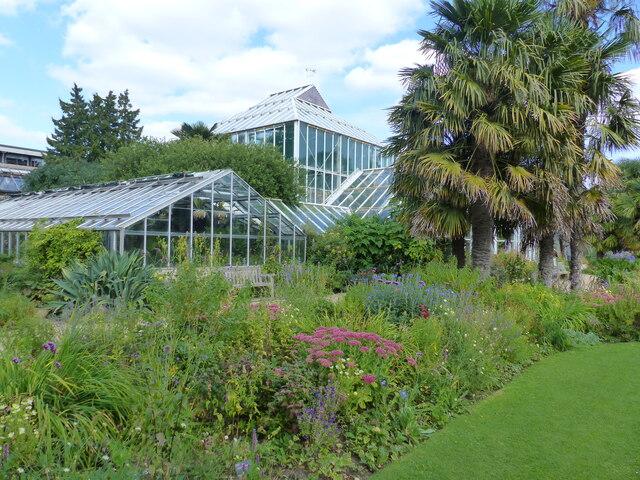 Flower beds, trees and greenhouses, Cambridge University Botanical Garden