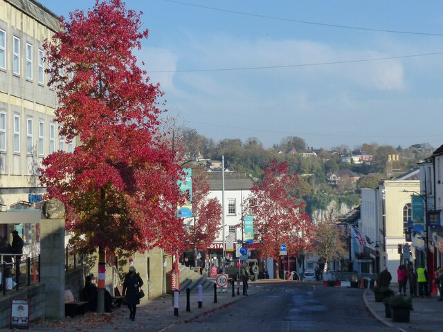 Chepstow High Street, traffic free during the day