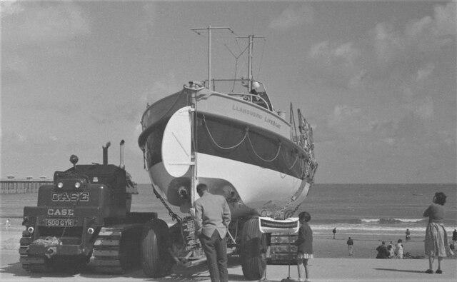 Llandudno Lifeboat and tractor by Geoffrey William Sutcliffe