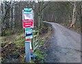NT2538 : Covid notices, Cademuir car park approach by Jim Barton