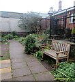 SO2118 : Wooden bench in Crickhowell Library Community Garden by Jaggery