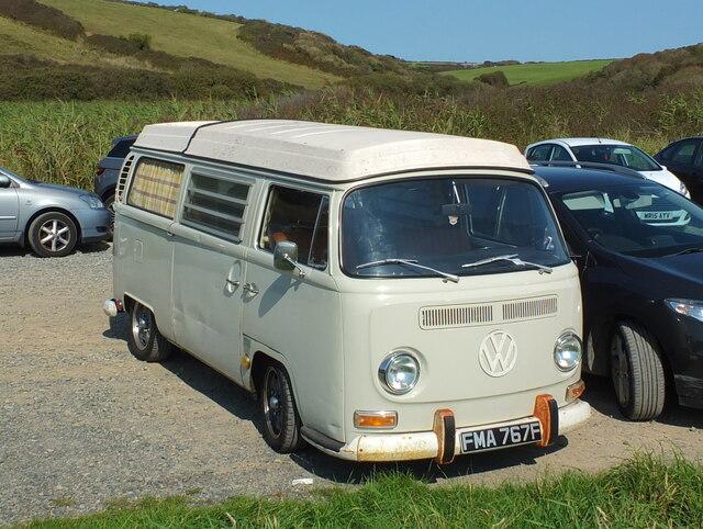 VW Camper at Poldhu Cove, Cornwall