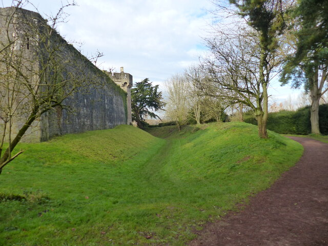 Remains of the moat around Caldicot Castle