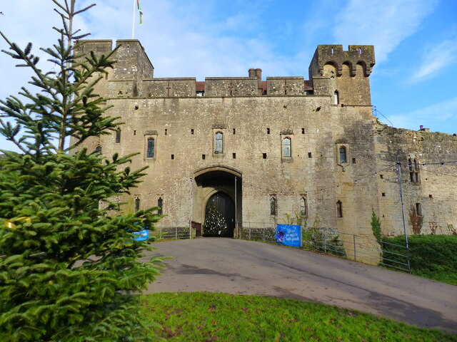 Entrance to Caldicot Castle, in Christmas mode