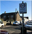 ST4287 : Start of the 20 zone, Newport Road, Magor, Monmouthshire by Jaggery
