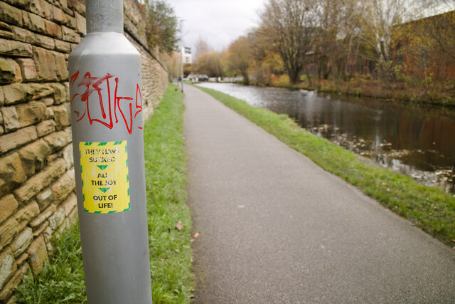 Anti-lockdown protest sticker by the Leeds - Liverpool Canal