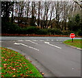 SS9280 : STOP sign at the end of the exit road from the Coychurch Crematorium site by Jaggery