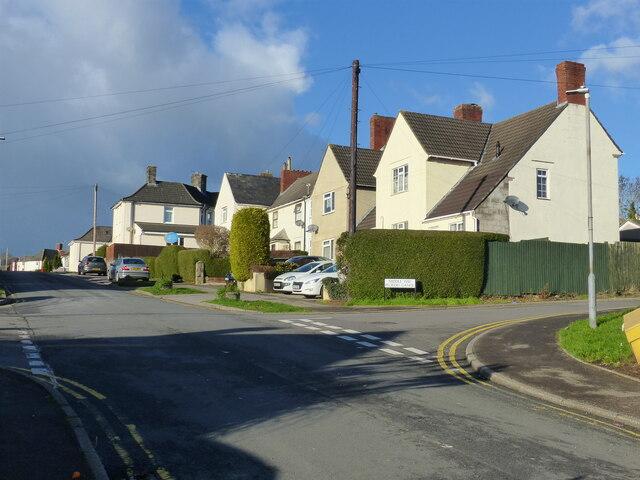 Houses in Bulwark Garden City - where Middle Way crosses Bulwark Avenue, Chepstow