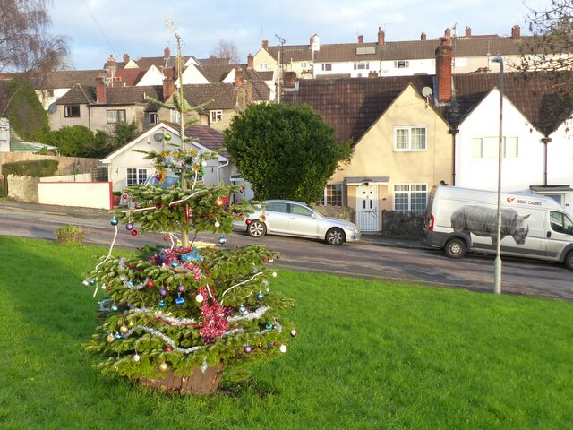 Christmas Day 2020 - Christmas Tree on the green, Chepstow Garden City