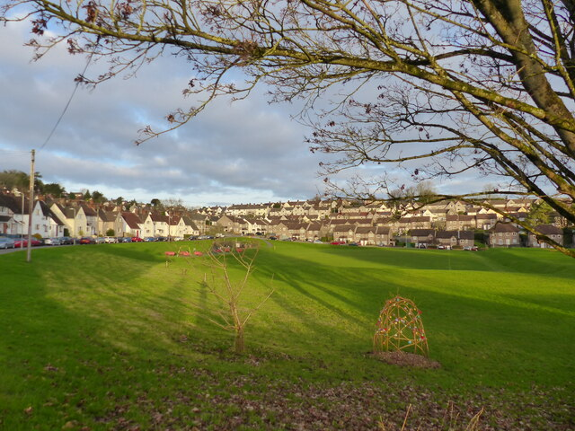 Playing field on Christmas Day 2020, Chepstow Garden City