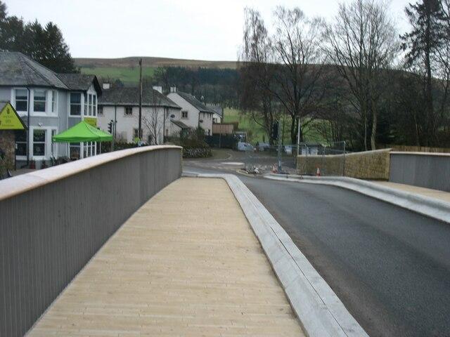 Walking across the new Pooley Bridge
