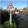 ST4286 : Warning sign - skid risk, Undy, Monmouthshire by Jaggery