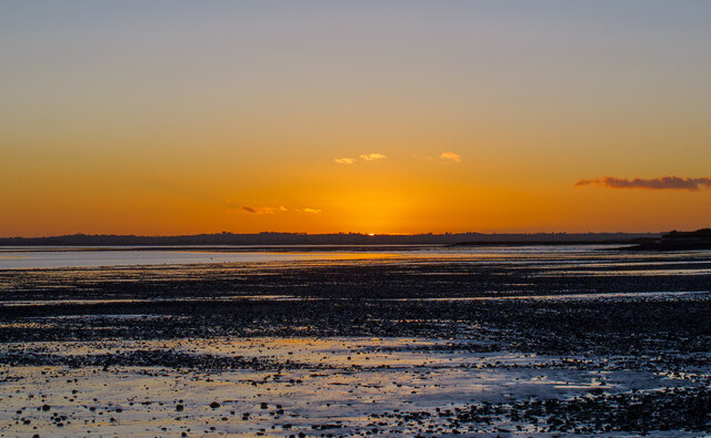 Sunset over foreshore, River Blackwater, Goldhanger