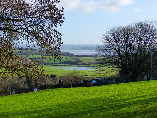 Looking across to the River Wye flood plain from Piggy's Hill, Chepstow
