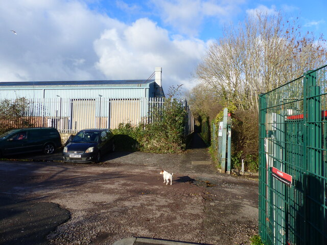 The Wales Coast Path passing through an industrial estate, Bulwark, Chepstow