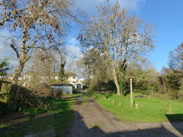 The Wales Coast Path behind houses at Bulwark Garden City, Chepstow
