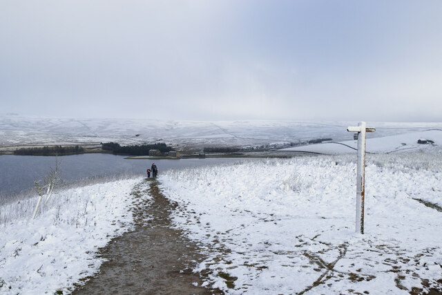 Walkers on the permissive path, Grimwith Reservoir