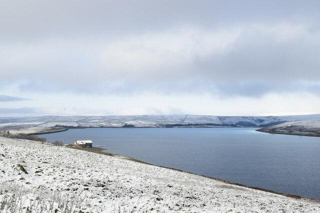 A snowy Grimwith Reservoir