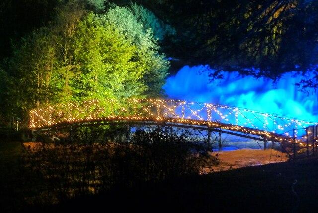 Blenheim Illuminations - (8) - Waterfall and bridge
