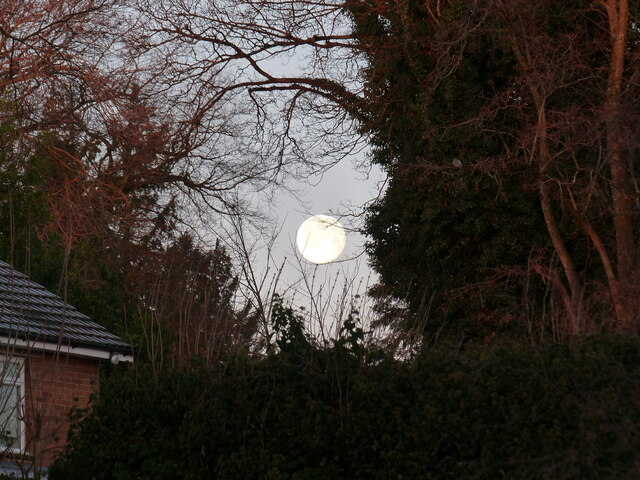 Moonset over house at Piggy's Hill, Chepstow