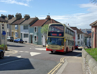 TQ3104 : Route 37B bus climbs the hill, 2010 by Robin Webster