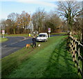 SO4007 : Walking the dogs in Raglan, Monmouthshire by Jaggery