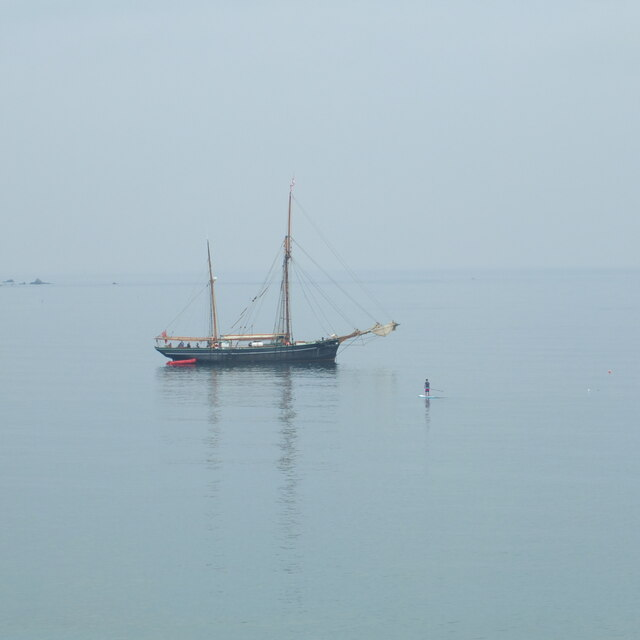 Ship in the bay at Coverack