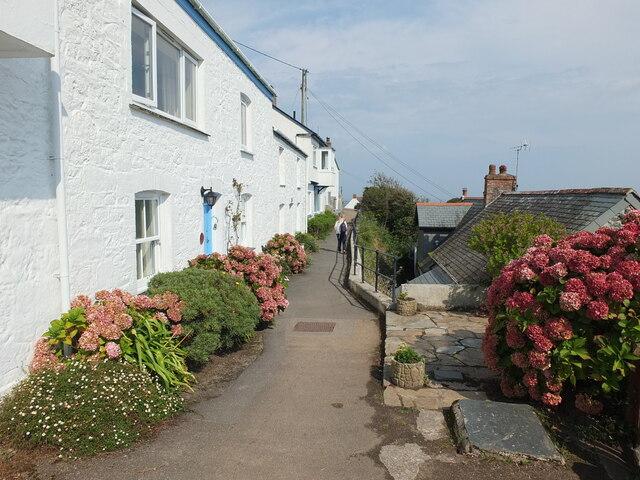 Cottages above Penprean Cove, Cornwall