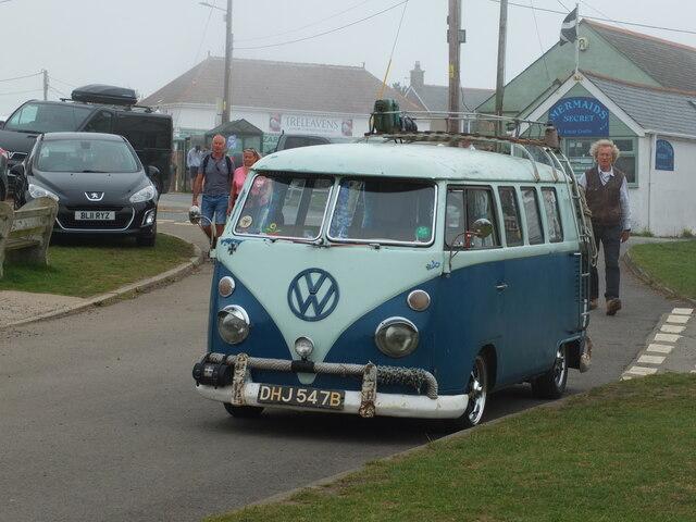 DHJ547B VW Campervan at Lizard, Cornwall