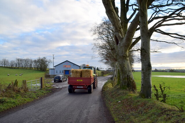 A passing tractor along Bracky Road