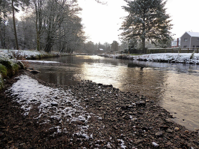 Light snow on the gravel bed along the Camowen River at Mullaghore