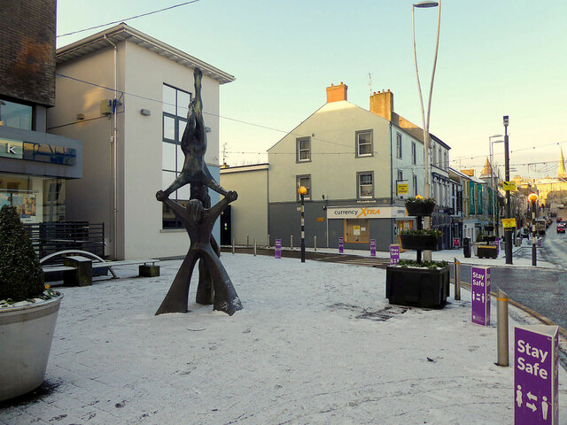 """""""Balance"""" in the snow sculpture, Market Street, Omagh"""