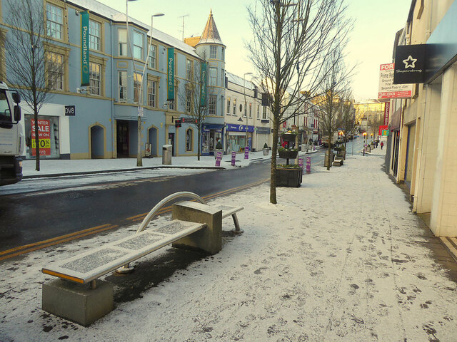 Snow covered footpath, High Street, Omagh