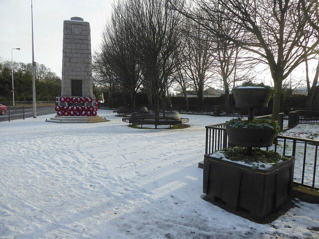 Snow at Memorial Place, Omagh
