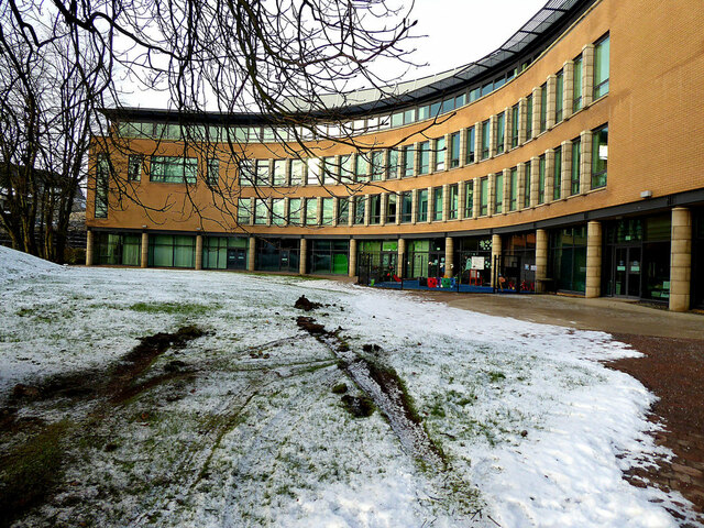 Snow lying at South West College, Omagh