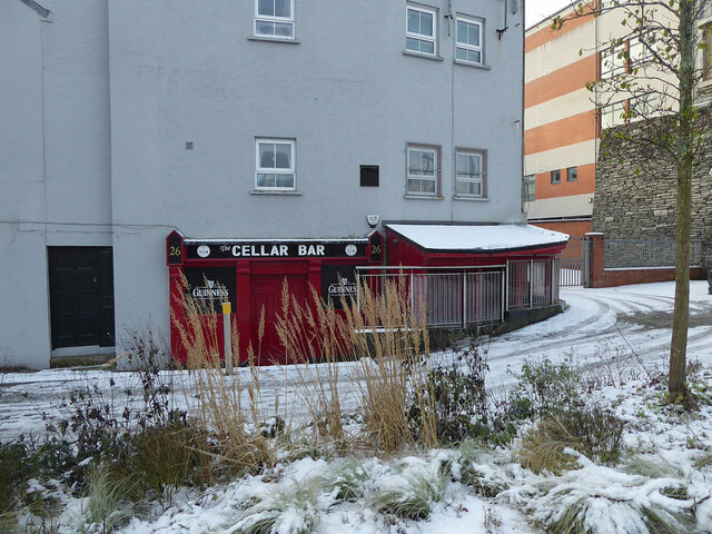 Snow in front of the Cellar Bar, Omagh