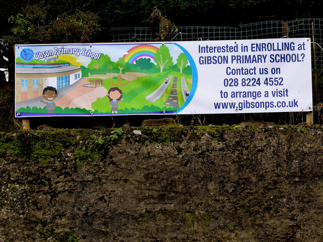 Enrolment banner promoting Gibson School, Omagh