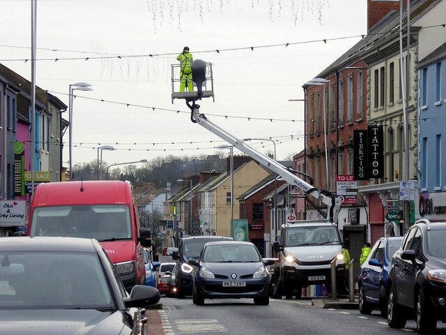 Removal of the Christmas lights, Omagh