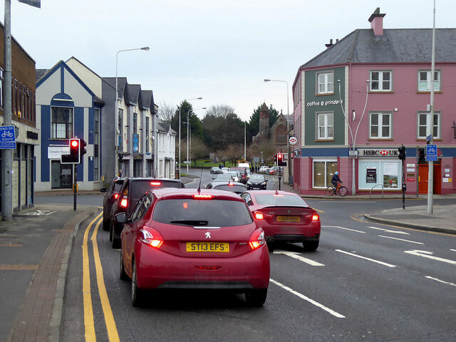 Traffic waiting at the traffic lights, Omagh