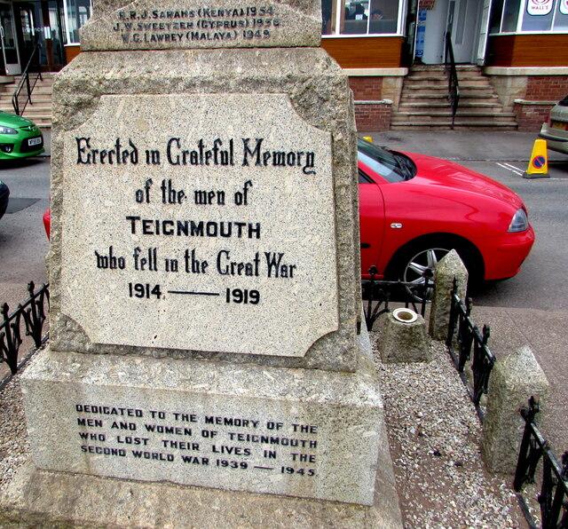 Dedications on Teignmouth War Memorial