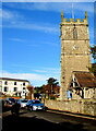 SO4107 : Church tower and lychgate, Chepstow Road, Raglan, Monmouthshire by Jaggery