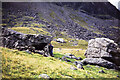 NY2105 : Mountain walker at Sampson's Stones by Trevor Littlewood
